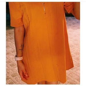 Oversized Mustard Zip Up Shirt/Dress/Tunic